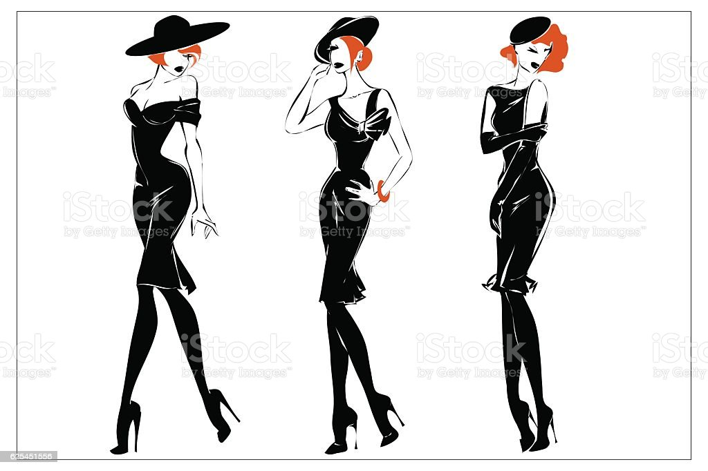 Fashion black and white women silhouette set, redhead models, vector vector art illustration