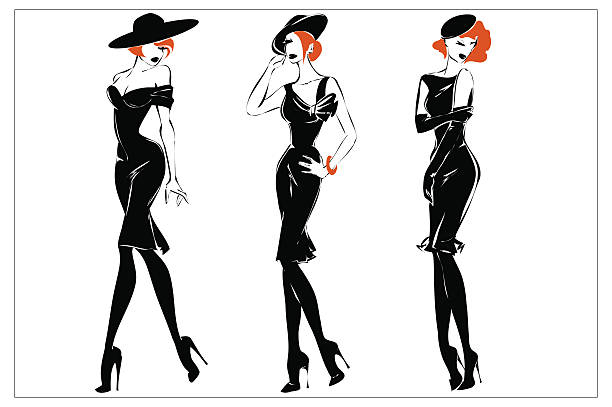 fashion black and white women silhouette set, redhead models, vector - redhead stock illustrations, clip art, cartoons, & icons