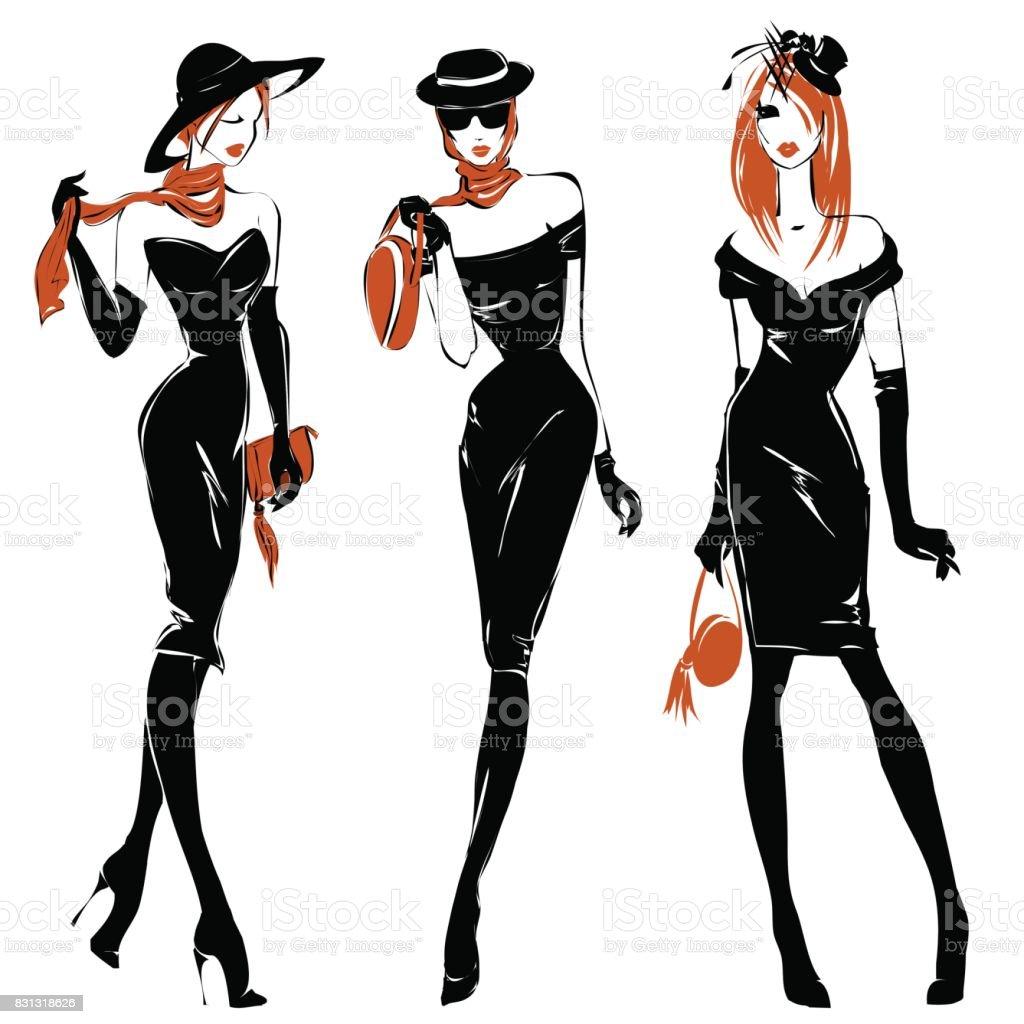 黒と白のファッション女性シルエット セット、赤毛モデル、ベクトル イラスト ベクターアートイラスト
