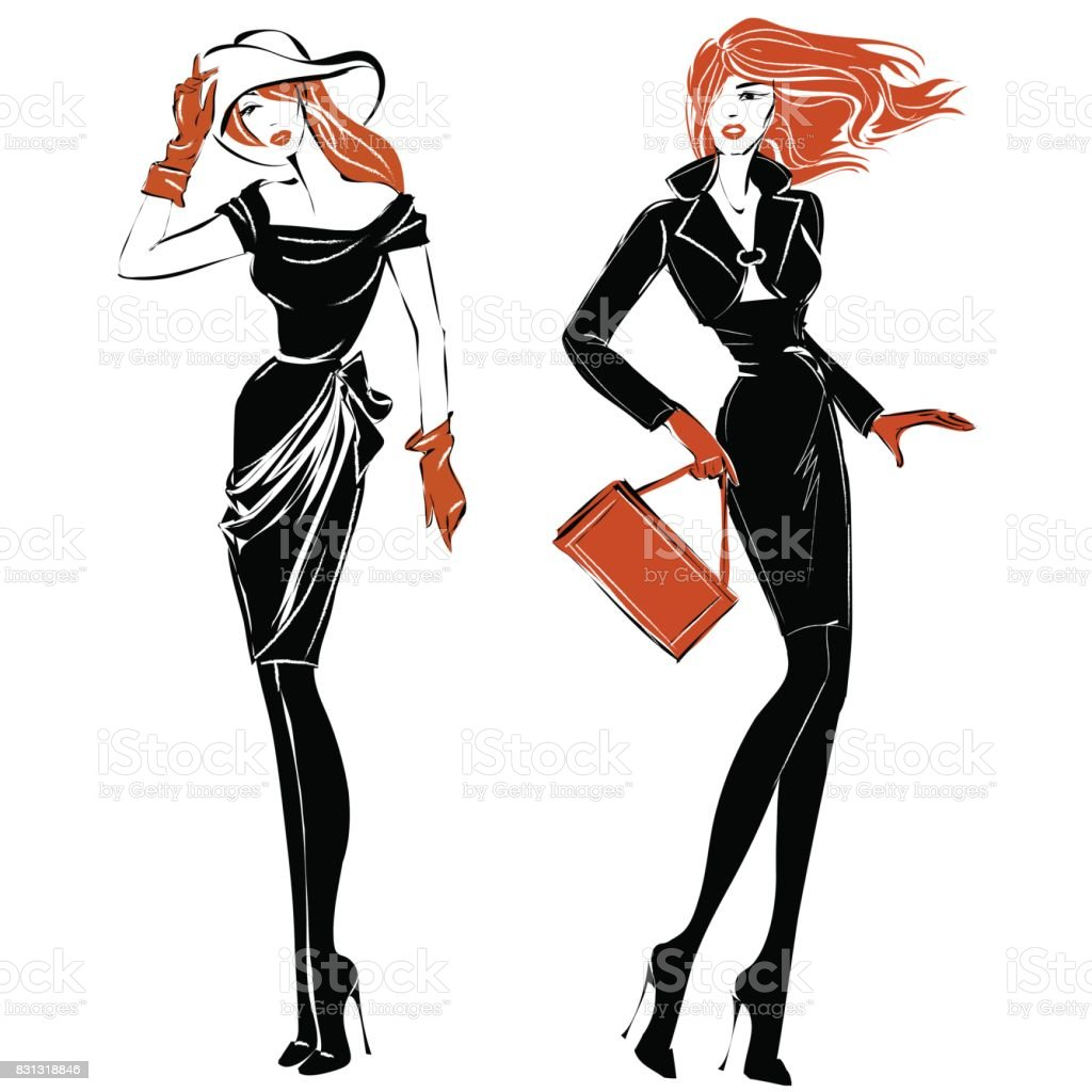 Fashion Black And White Women Silhouette Set Redhead