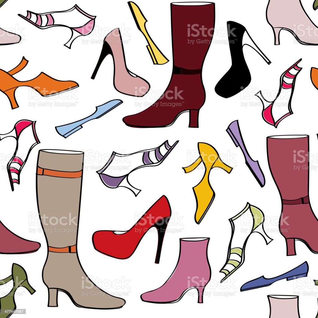 Fashion Boots And Shoes Tileable Wallpaper Royalty Free Stock