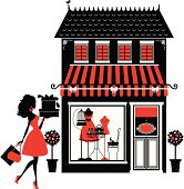 A cute girl shopping and a fashion boutique.