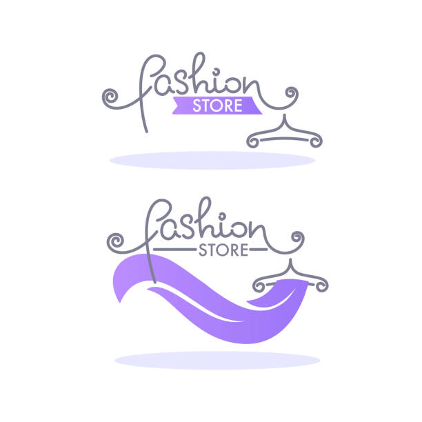 fashion boutique and store logo, label, emblem with handdrawn lettering composition - butik stock illustrations
