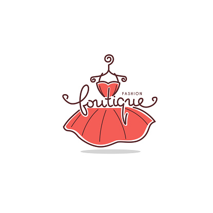 Fashion Boutique and store logo, label, emblems with doodle line art dresses and lettering composition