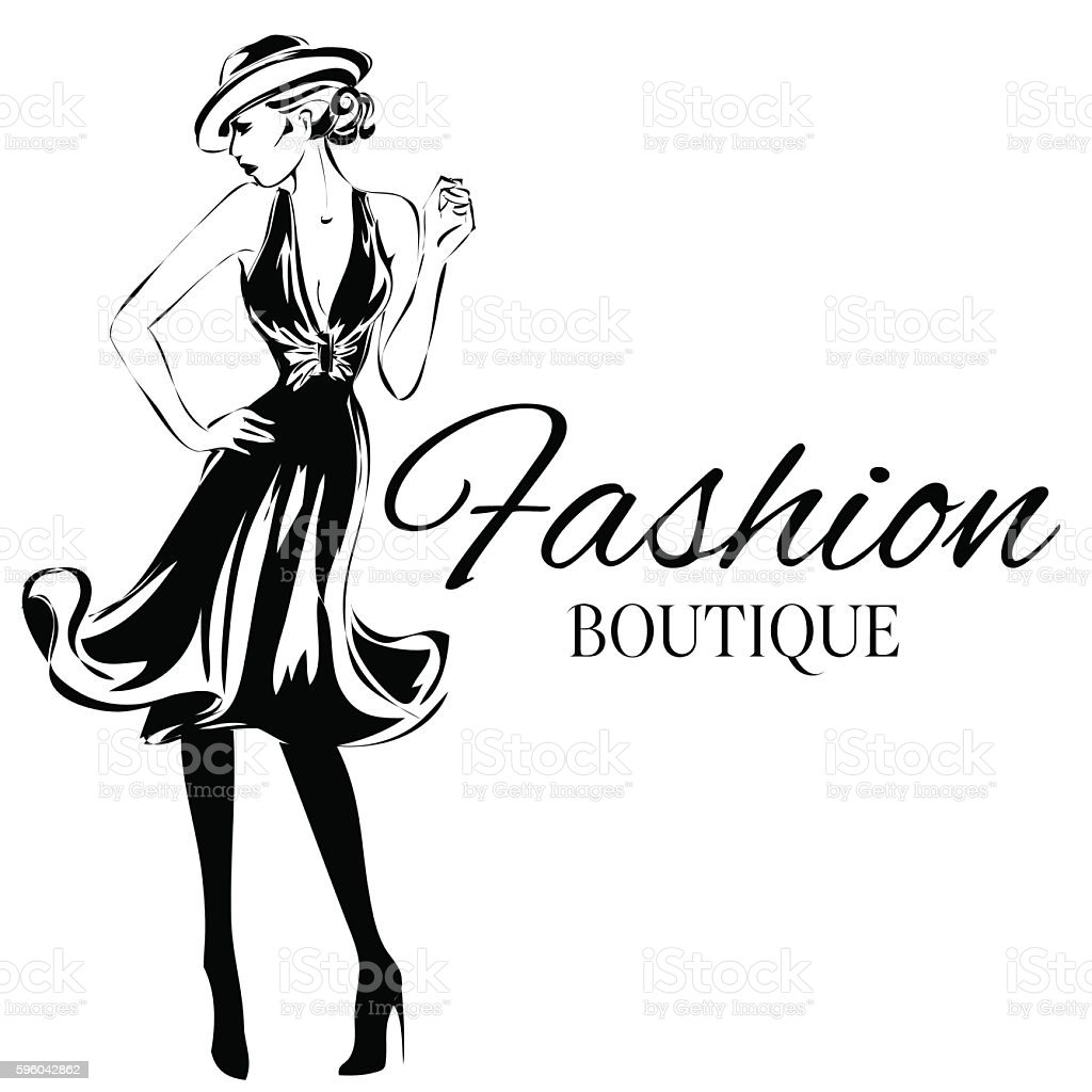 fashion boutique background with black and white woman silhouette rh istockphoto com fashion vectors illustrator fashion vector logo