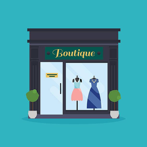 modeboutique fassade. kleidung shop. markt, ideal für geschäftsreisende - stoffmarkt stock-grafiken, -clipart, -cartoons und -symbole