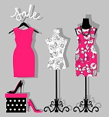 illustration of a dress on a mannequin, shoes and gift wrapping. mannequin with fashion women summer clothing. Fashion boutique for design fashion