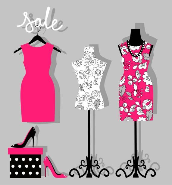 mode-boutique für mode design - stoffmarkt stock-grafiken, -clipart, -cartoons und -symbole