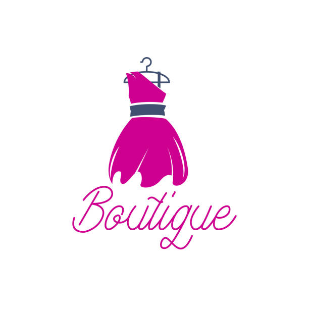 fashion boutique logo with text space for your slogan / tagline, vector illustration - butik stock illustrations