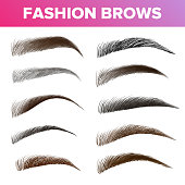 Fashion Brows Various Shapes And Types Vector Set