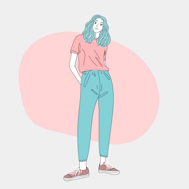 Fashion cartoon woman standing in the heart of the city.Doodle art concept,illustration painting vector art illustration
