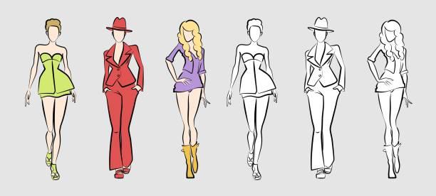 mode models auf dem laufsteg - couture stock-grafiken, -clipart, -cartoons und -symbole