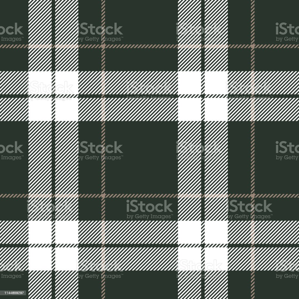 Fashion check plaid pattern in dark green, white, and beige for...