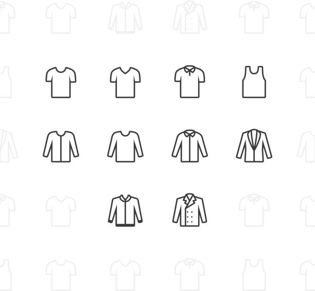stockillustraties, clipart, cartoons en iconen met fashion clothes icons, 2 pixel stroke - men blazer