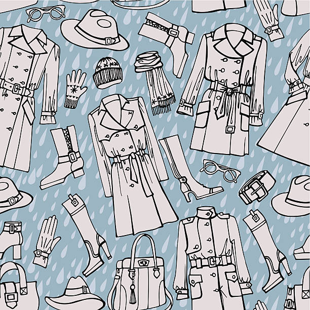 fashion clothes seamless pattern. autumn ,winter,spring woman we - spring fashion stock illustrations, clip art, cartoons, & icons