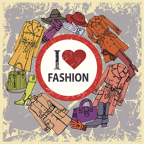 fashion clothes set.autumn ,winter,spring woman wear - spring fashion stock illustrations, clip art, cartoons, & icons