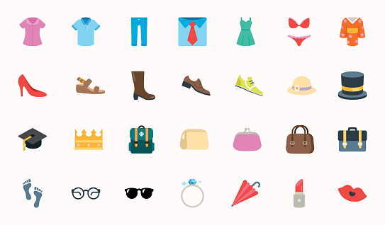 Fashion Clothes Vector Illustration Icons Set. Shopping Emojis Collection. Menswear, Womenswear, Accessories, Ring, Hat, Shirts, Wears, Apparels, Dresses - Vector