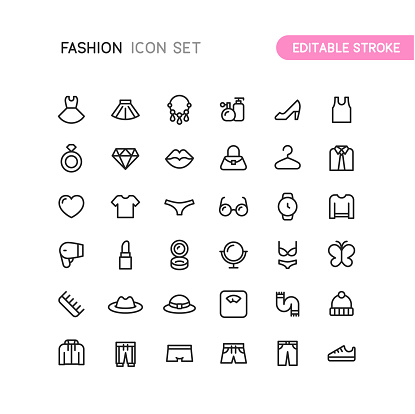 Fashion Clothing & Accessories Outline Icons Editable Stroke