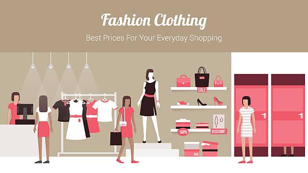 ファッションブティック - 小売販売員点のイラスト素材/クリップアート素材/マンガ素材/アイコン素材