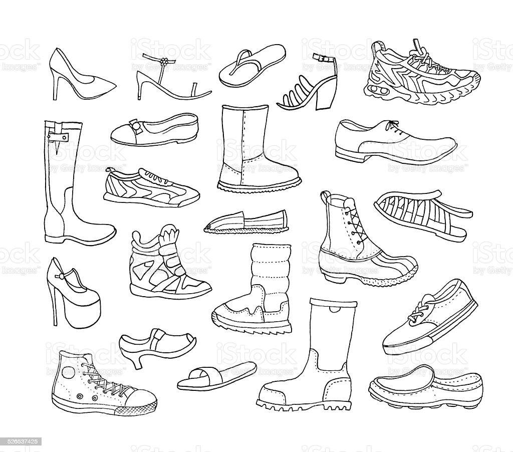 fashion collection different hand drawn shoes vector isolated stock