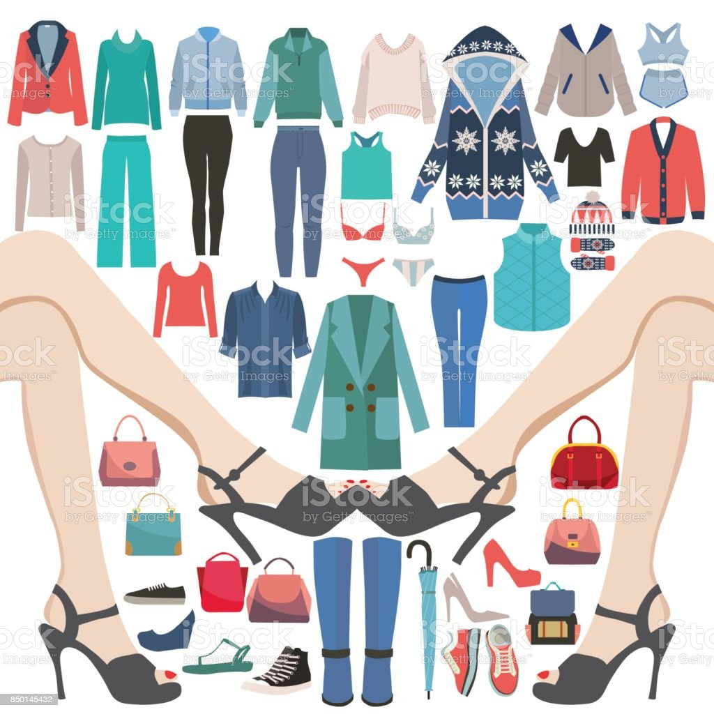 Fashion Collection Of Big sale and shopping. vector art illustration