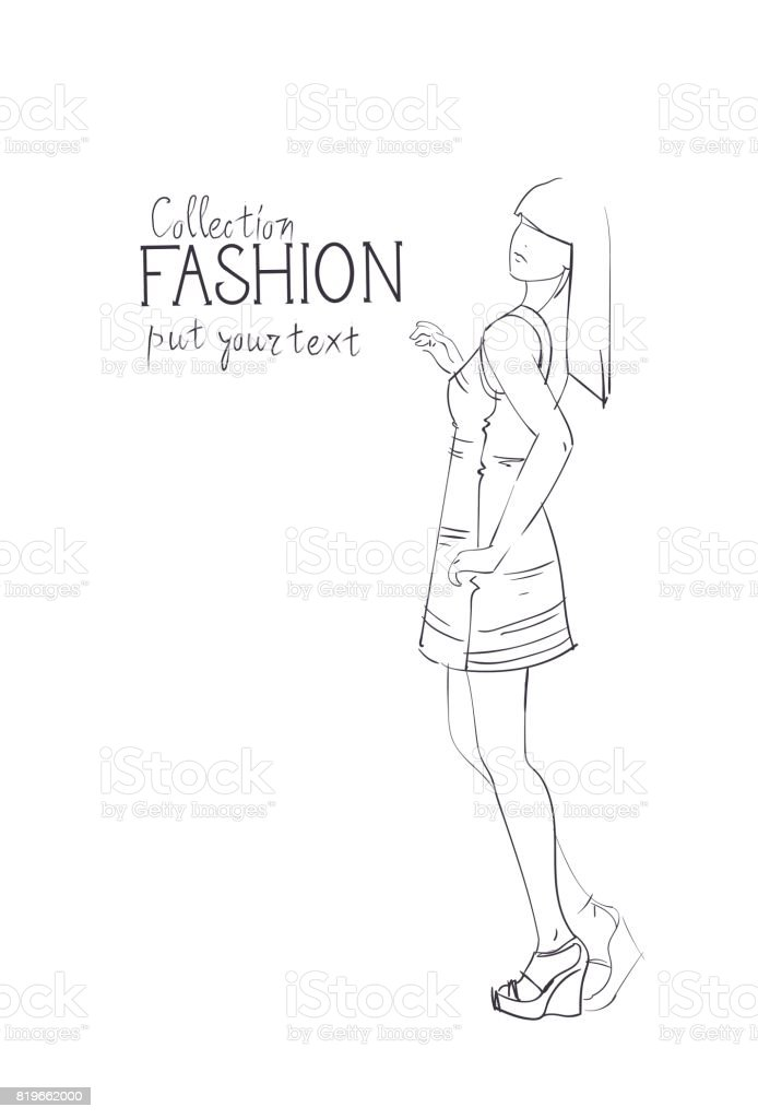 fashion collection of clothes female model wearing trendy clothing 1966 Men's Fashion fashion collection of clothes female model wearing trendy clothing sketch royalty free fashion collection of