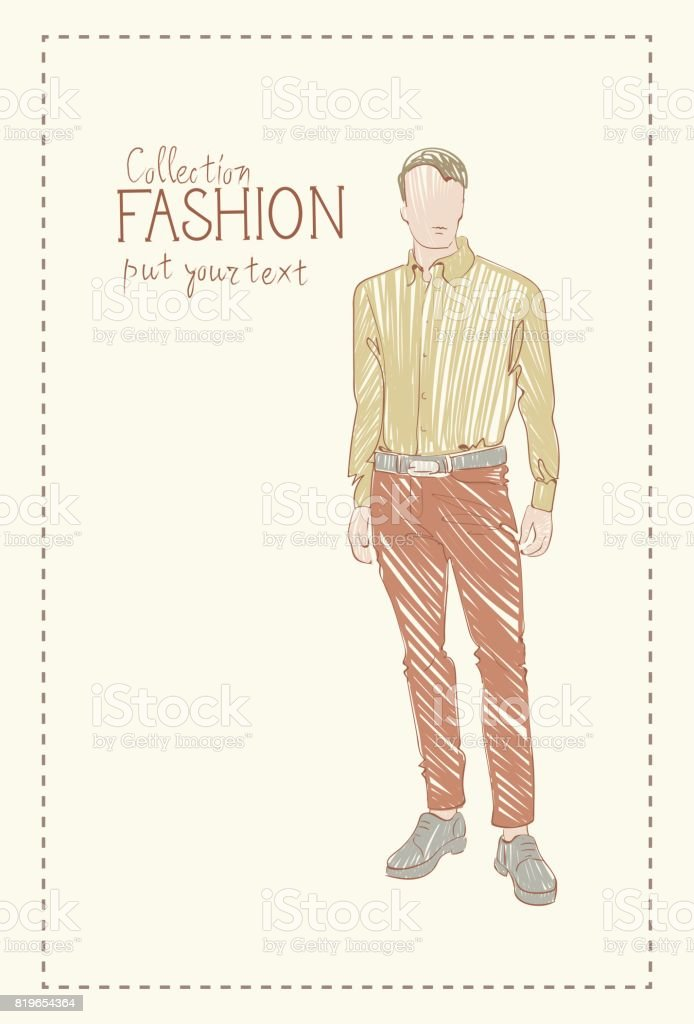 Fashion Collection Of Clothes Male Model Wearing Trendy Clothing Sketch vector art illustration