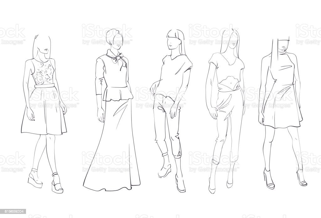 Fashion Collection Of Clothes Set Of Male And Female Models Wearing Trendy Clothing Sketch vector art illustration