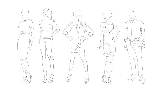 fashion collection of clothes set of models wearing trendy clothing sketch - marionetka stock illustrations