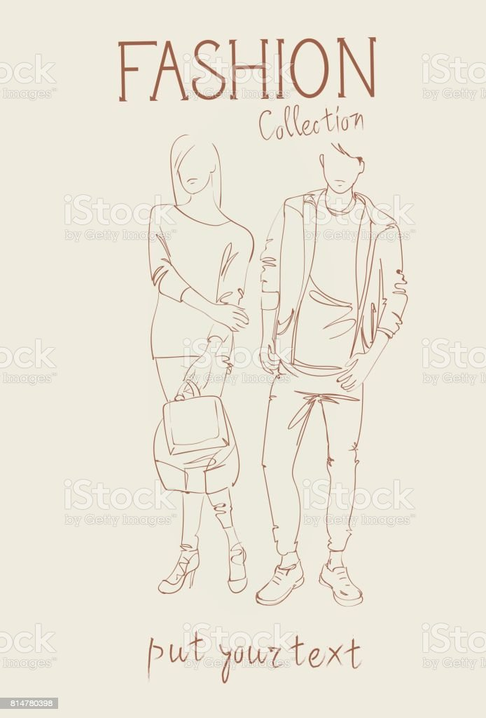 Fashion Collection Of Clothes Set Of Models Wearing Trendy Clothing Sketch vector art illustration