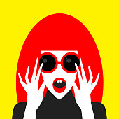 Pop art fashion color surprised girl in sunglasses. Beautiful pop art flat girl in 70s style. Vector illustration