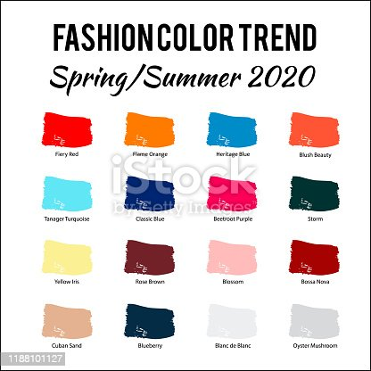 istock Fashion Color Trend Spring – Summer  2020. Trendy colors palette guide. Brush strokes of paint color with names swatches. Easy to edit vector template for your creative designs. 1188101127