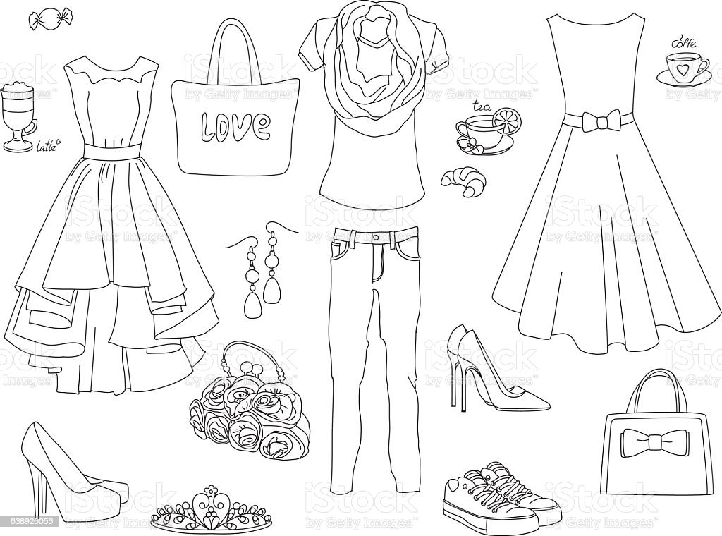 - Fashion Coloring Book Set Stock Illustration - Download Image Now - IStock