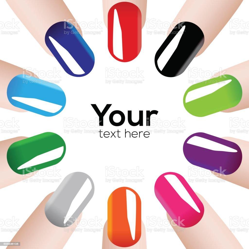 Fashion colours nails vector art illustration