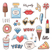 Vector sketch comic fashion set of stickers with ice cream, diamond, donut, lips, sunglasses and hashtags. Hipster patch badges collection