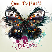 Fashion conceptual background with vector realistic butterfly. Give this World more color