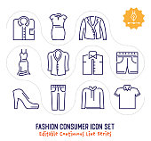Fashion consumer vector icons set for logo, emblem or symbol use. This collection is part of single line minimalist drawing series with editable strokes.