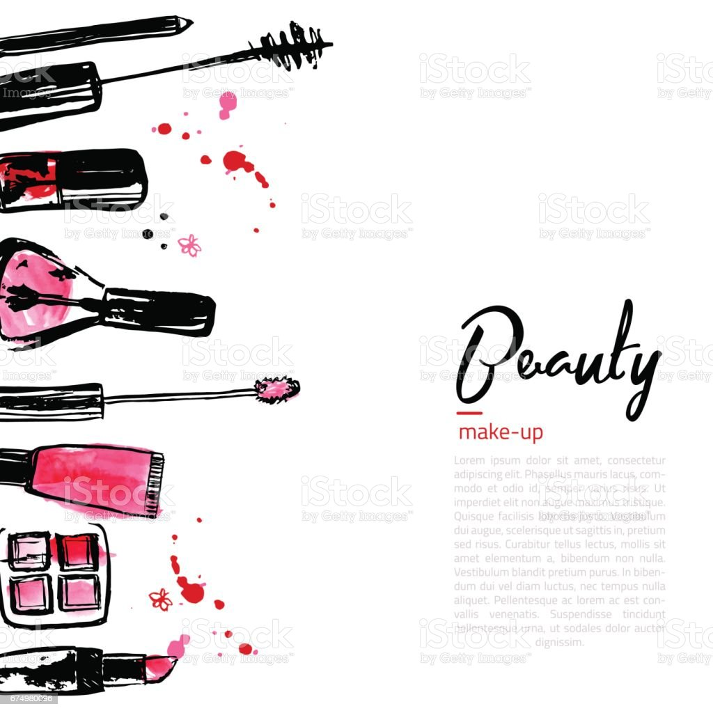 Fashion Cosmetics background with make up objects lipstick, powder, brush. With place for your text. Glamour women style vector art illustration
