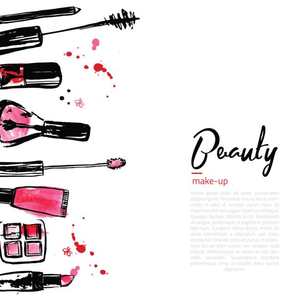 ilustrações de stock, clip art, desenhos animados e ícones de fashion cosmetics background with make up objects lipstick, powder, brush. with place for your text. glamour women style - make up