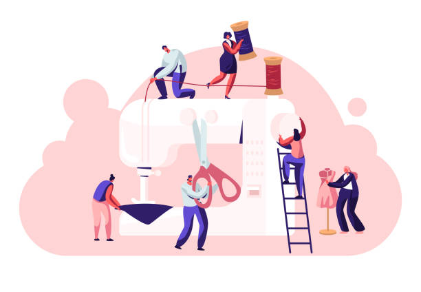 illustrazioni stock, clip art, cartoni animati e icone di tendenza di fashion design concept, dressmakers create outfit and apparel on sewing machine, assistant working with mannequin. creative atelier, tailor textile craft business. cartoon flat vector illustration - tailor working