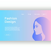 Fashion design landing page template with feminine colors and cute girl face. Vector illustration eps 10.