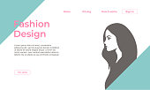 Fashion design landing page template with feminine colors and silhouette girl face. Vector illustration eps 10.