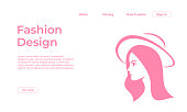 Fashion design landing page template with feminine colors and fashioned girl face. Vector illustration eps 10.