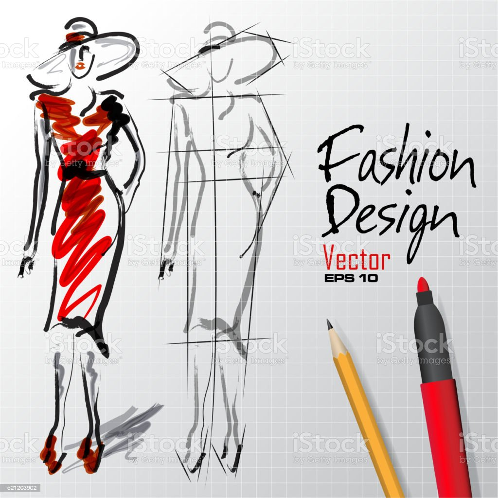 fashion design sketches vector art illustration