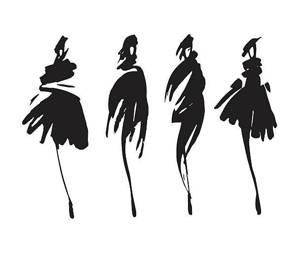 Line Silhouettes In Fashion Design : Royalty free fashion model clip art vector images