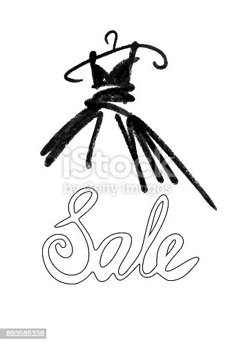 istock Fashion design vector illustration hand drawn. Woman dress isolated on white. Dress with Sale on hanger. Lettering. 893585338