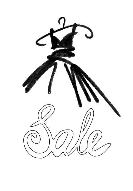 패션 디자인 벡터 일러스트 레이 션 손을 그려입니다. 여자 드레스 흰색 절연입니다. 옷걸이에 판매 드레스. 레터링입니다. - 드레스 stock illustrations