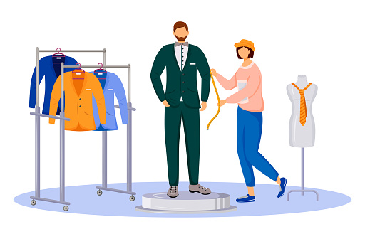 Fashion designer gets measurements flat color vector illustration. Clothing atelier assistant. Individual tailoring. Creating man suit isolated cartoon character on white background