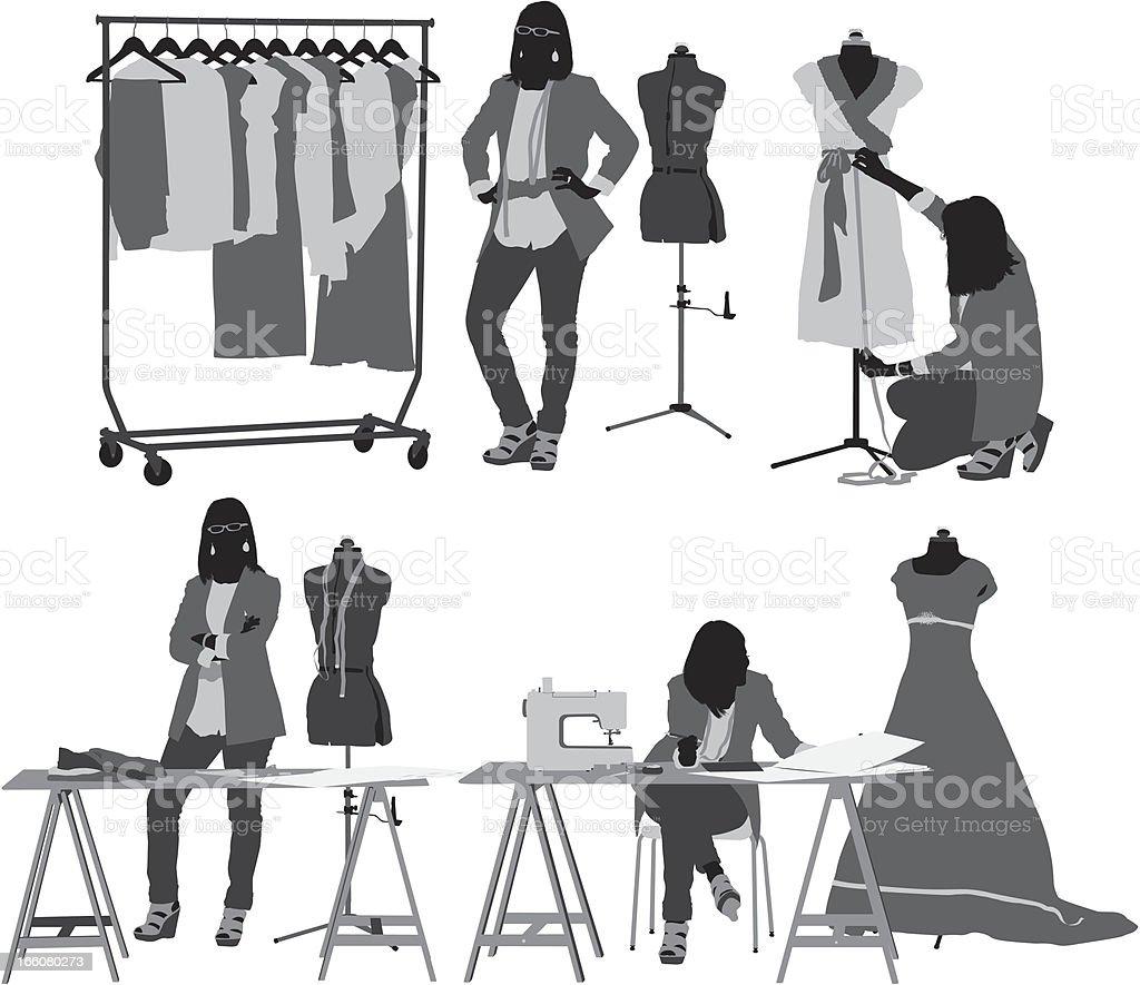 Fashion designer in her workshop vector art illustration