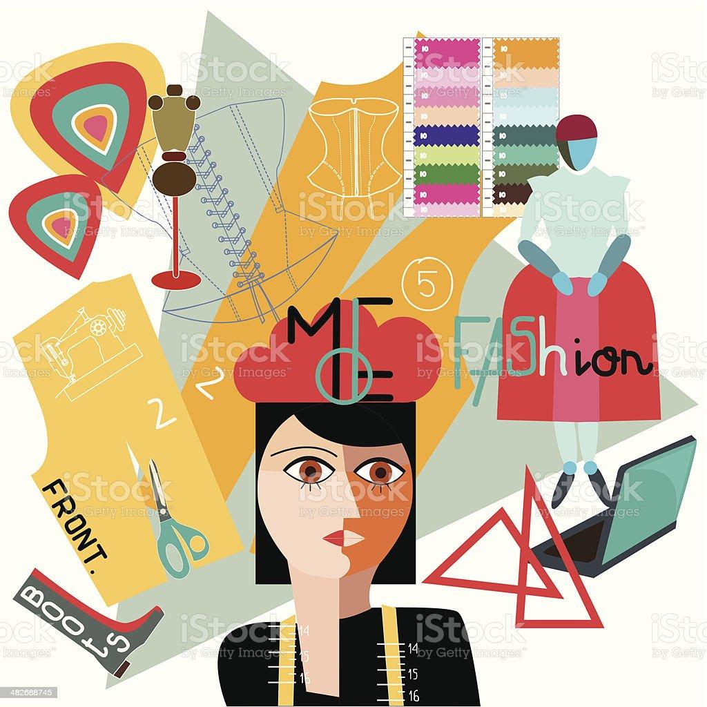 Fashion Designer vector art illustration